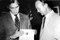 George HW Bush and Michael Collins presenting Apollo 13 Lunar Bible